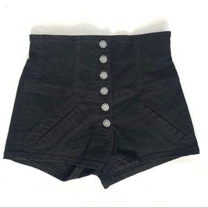 Carmar Button Fly Black High Waisted Shorts